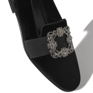 Bejewered Luxe Velvet Loafer with Buckle